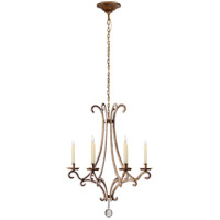 E. F. Chapman Oslo 6 Light 23 inch Gilded Iron with Wax Chandelier Ceiling Light