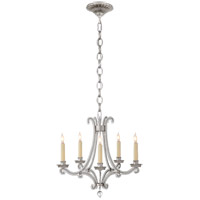 Visual Comfort E.F. Chapman Oslo 5 Light Chandelier in Burnished Silver Leaf with Crystal Shade CHC1559BSL-CG