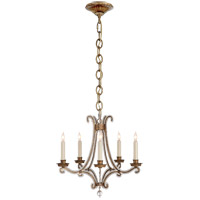 Visual Comfort E.F. Chapman Oslo 5 Light Chandelier in Gilded Iron with Crystal Shade CHC1559GI-CG
