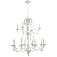 Visual Comfort CHC1560BW-SG E. F. Chapman Flanders 12 Light 40 inch Belgian White Chandelier Ceiling Light, Medium Two-Tier