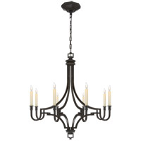 Visual Comfort E.F. Chapman Mykonos 8 Light Chandelier in Aged Iron with Wax CHC1561AI photo thumbnail