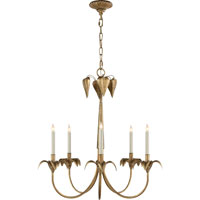 Visual Comfort E.F. Chapman Darlana 5 Light Chandelier in Gilded Iron with Wax CHC1574GI