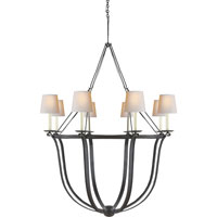 Visual Comfort E.F. Chapman Lancaster 8 Light Chandelier in Aged Iron with Wax CHC1577AI-NP
