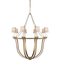 Visual Comfort E.F. Chapman Lancaster 8 Light Chandelier in Gilded Iron with Wax CHC1577GI-NP