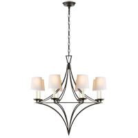 Visual Comfort E.F. Chapman Darlana 8 Light Chandelier in Aged Iron with Natural Paper Shade CHC1582AI-NP