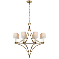 Visual Comfort E.F. Chapman Darlana 8 Light Chandelier in Gilded Iron with Natural Paper Shade CHC1582GI-NP