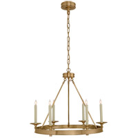 E. F. Chapman Launceton 6 Light 27 inch Antique-Burnished Brass Chandelier Ceiling Light, Small Ring