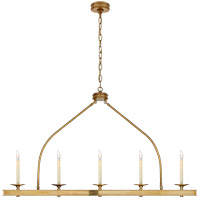 Visual Comfort CHC1605AB E. F. Chapman Launceton 5 Light 52 inch Antique-Burnished Brass Linear Pendant Ceiling Light, Large
