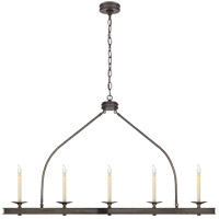 E. F. Chapman Launceton 5 Light 52 inch Bronze Linear Pendant Ceiling Light, Large