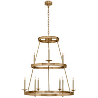 E. F. Chapman Launceton 9 Light 36 inch Antique-Burnished Brass Chandelier Ceiling Light, Medium Two Tier
