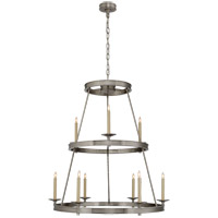 E. F. Chapman Launceton 9 Light 36 inch Antique Nickel Chandelier Ceiling Light, Medium Two Tier
