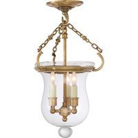 Visual Comfort E.F. Chapman Rolled Lip Bell Jar 3 Light Semi-Flush in Antique-Burnished Brass CHC2100AB