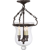 Visual Comfort E.F. Chapman Rolled Lip Bell Jar 3 Light Semi-Flush in Bronze with Wax CHC2100BZ