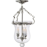 Visual Comfort E.F. Chapman Rolled Lip Bell Jar 3 Light Semi-Flush in Polished Nickel CHC2100PN