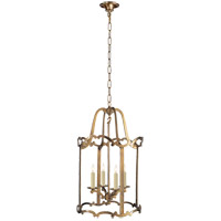 Visual Comfort E.F. Chapman Scroll 4 Light Pendant in Antique-Burnished Brass CHC2107AB