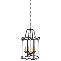 E.F. Chapman Scroll 4 Light 16 inch Hand Painted Blackened Rust Pendant Ceiling Light