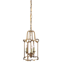 Visual Comfort E.F. Chapman Scroll 3 Light Pendant in Antique-Burnished Brass CHC2108AB