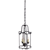 E.F. Chapman Scroll 3 Light 8 inch Hand Painted Blackened Rust Pendant Ceiling Light