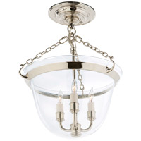 E.F. Chapman Country 3 Light 13 inch Polished Nickel Semi-Flush Ceiling Light