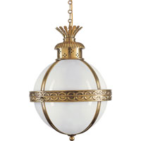 Visual Comfort E.F. Chapman Crown 3 Light Foyer Pendant in Antique-Burnished Brass CHC2111AB-WG