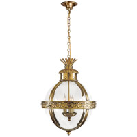 E. F. Chapman Crown Top 3 Light 15 inch Antique-Burnished Brass Foyer Pendant Ceiling Light in (None), Antique Burnished Brass, Clear Glass