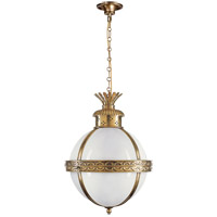 Visual Comfort CHC2111AB-WG E. F. Chapman Crown Top 3 Light 15 inch Antique-Burnished Brass Foyer Pendant Ceiling Light in White Glass
