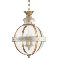 Visual Comfort E.F. Chapman Crown 3 Light Foyer Pendant in Antique White Paint CHC2111AW-CG