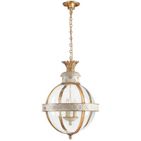 Visual Comfort CHC2111AW-CG E. F. Chapman Crown Top 3 Light 15 inch Antique White Paint Foyer Pendant Ceiling Light in (None), Clear Glass