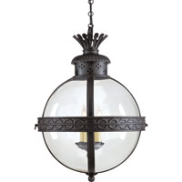 E. F. Chapman Crown Top 3 Light 15 inch Hand Painted Blackened Rust Foyer Pendant Ceiling Light in (None), Clear Glass
