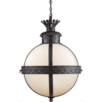 Visual Comfort CHC2111BR-WG E. F. Chapman Crown Top 3 Light 15 inch Hand Painted Blackened Rust Foyer Pendant Ceiling Light in (None), White Glass