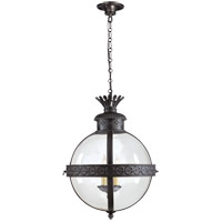 Visual Comfort CHC2111BR-CG E. F. Chapman Crown Top 3 Light 15 inch Hand Painted Blackened Rust Foyer Pendant Ceiling Light in Clear Glass