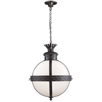 Visual Comfort CHC2111BR-WG E. F. Chapman Crown Top 3 Light 15 inch Hand Painted Blackened Rust Foyer Pendant Ceiling Light in White Glass