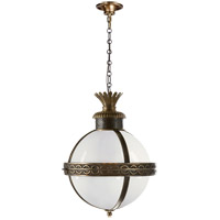E. F. Chapman Crown Top 3 Light 15 inch Bronze with Antique Brass Accents Foyer Pendant Ceiling Light in White Glass