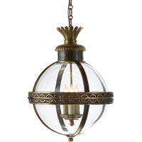 E. F. Chapman Crown Top 3 Light 15 inch Bronze with Antique Brass Accents Foyer Pendant Ceiling Light in Clear Glass