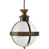 Visual Comfort E.F. Chapman Crown 3 Light Ceiling Lantern in Bronze with Antique Brass Accents CHC2111BZ/AB-WG