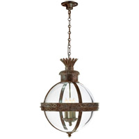 Visual Comfort CHC2111WVG-CG E. F. Chapman Crown Top 3 Light 15 inch Weathered Verdigris Foyer Pendant Ceiling Light in Clear Glass