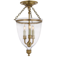 Visual Comfort E.F. Chapman Chelsea 3 Light Semi-Flush in Antique-Burnished Brass CHC2118AB