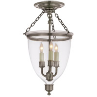E.F. Chapman Chelsea 3 Light 10 inch Antique Nickel Semi-Flush Ceiling Light