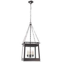 Visual Comfort E.F. Chapman Clover 6 Light Foyer Pendant in Aged Iron with Wax CHC2155AI