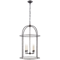 Visual Comfort E.F. Chapman Desmond 4 Light 21-inch Foyer Lantern in Aged Iron, Cage CHC2160AI