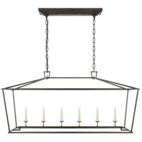Visual Comfort E.F. Chapman Darlana 6 Light Linear Pendant in Aged Iron CHC2166AI