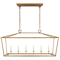 Visual Comfort E.F. Chapman Darlana 6 Light Linear Pendant in Gilded Iron with Wax CHC2166GI