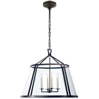 Visual Comfort E.F. Chapman Darlana 4 Light Pendant in Aged Iron with Clear Glass Shade CHC2202AI-CG