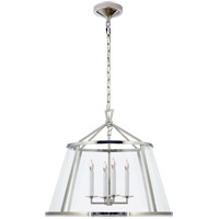Visual Comfort E.F. Chapman Darlana 4 Light Pendant in Polished Nickel with Clear Glass Shade CHC2202PN-CG