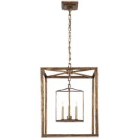 Visual Comfort E.F. Chapman Osborne 3 Light Ceiling Lantern in Gilded Iron with Wax CHC2217GI