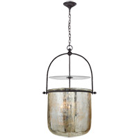 Visual Comfort E.F. Chapman Lorford 4 Light Pendant in Aged Iron with Mercury Glass Shade CHC2270AI-MG