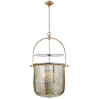 Visual Comfort E.F. Chapman Lorford 4 Light Foyer Pendant in Gilded Iron with Distressed Mercury Glass Shade CHC2270GI-MG