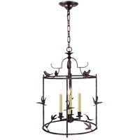 Visual Comfort E.F. Chapman Diego 4 Light Foyer Pendant in Hand Painted Rust Finish CHC3108R