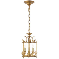 E.F. Chapman Diego Perching Bird 3 Light 8 inch Gilded Iron with Wax Foyer Pendant Ceiling Light