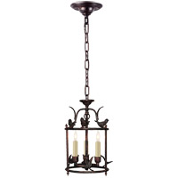 Visual Comfort E.F. Chapman Diego Perching Bird 3 Light Foyer Pendant in Hand Painted Rust Finish CHC3109R